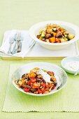 Warm meatball and bread salad