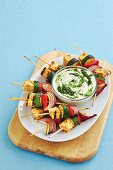 Tofu kebabs with a coriander pesto dip