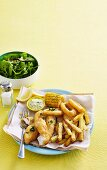 Fish and chips with sauce tartare