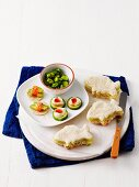 Fish shaped sandwiches, cucumber canap