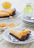 Lemon and chocolate tart with limoncello