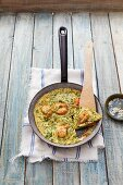 Prawn omelette with herbs