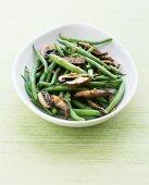 Green beans and portobello mushrooms