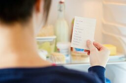 A shopping list being checked