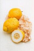 Sicilian cedro lemons on a piece of paper