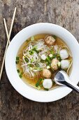 Kuay-tiew-nam-sai (clear soup with wide rice noodles, fish and prawn dumplings, Thailand)