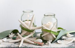 Lanterns with starfish and beach decorations