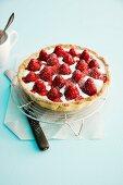 Buttermilk tart with strawberries