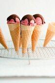 Strawberry ice cream with chocolate sauce