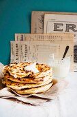 Unleavened bread with a pumpkin filling and sour cream