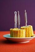 Corncobs on forks