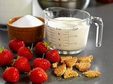 Ingredients for strawberry cookie ice cream