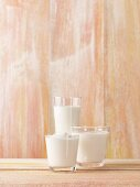 Assorted dairy products in glasses