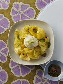 Pineapple carpaccio with red pepper