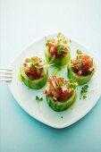 Stuffed cucumber with radishes and tuna