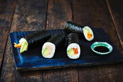 Maki rolls with soy sauce (Japan)