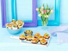 Salmon and egg wraps, surimi salad tartines and salmon and avocado salsa