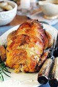 Stuffed roasted guinea fowl breast