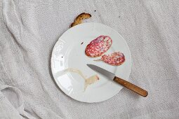Slices of salami, sausage skin, a knife and a piece of bread on a white porcelain plate
