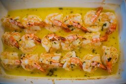 Prawns in garlic butter fresh from the oven