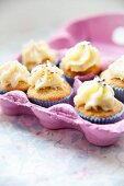 Mini Easter cupcakes in a pink egg box
