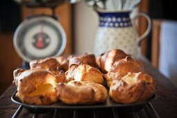 A tray of freshly baked Yorkshire puddings