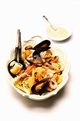 Seafood salad with mussels and potatoes