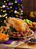 Roast turkey with all the trimmings on a festive table