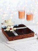Chocolate and cherry slice