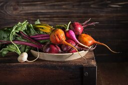 Fresh organic beetroot, golden beets and radishes in a bowl on top of an old wooden box