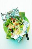 Oriental vegetables in tin foil