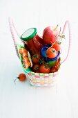 Various ingredients in a shopping basket
