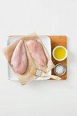 Chicken fillets, olive oil and salt