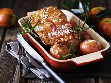 Roast pork with apples and rosemary