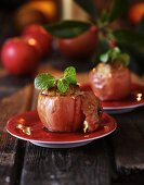 Baked apples filled with marzipan and cinnamon
