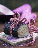 Yule log cake for Christmas