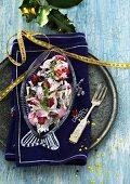 Herring salad with beetroot and crème fraîche sauce