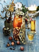 Homemade hazelnut schnapps in a flip-top bottle