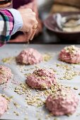 Beetroot rolls sprinkled with seeds