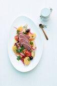 Lamb fillet on a Mediterranean potato salad