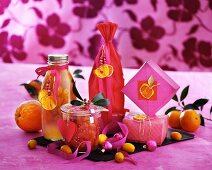 Various Christmas presents made from citrus fruits