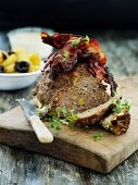 Meat loaf with bacon, sliced
