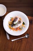 Catfish in root vegetable stock