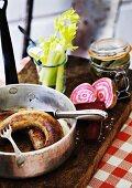 Sausage, beetroot, gherkins and celery