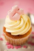 A cupcake for a baby shower