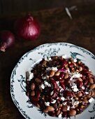 Bean and lentil salad with feta cheese