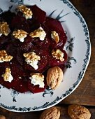 Beetroot salad with walnuts and goat's cheese