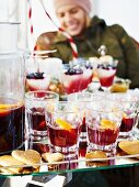 Mulled wine and rice desserts on a Christmas buffet