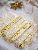 White saffron confectionery with pistachios
