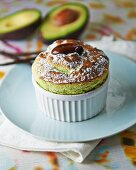 Avocado, pistachio and vanilla soufflé